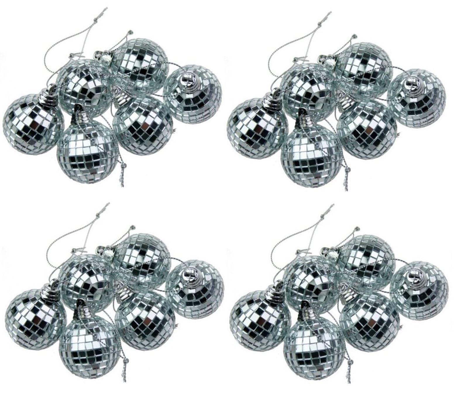 24 Silver Mini Disco Mirror Ball Christmas Tree Bauble Home Party
