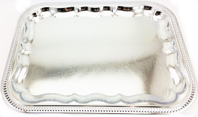 4 Silver Platter Decorative Serving Tray Wedding Table Centre Piece Xmas Festive 5055362973108 Ebay