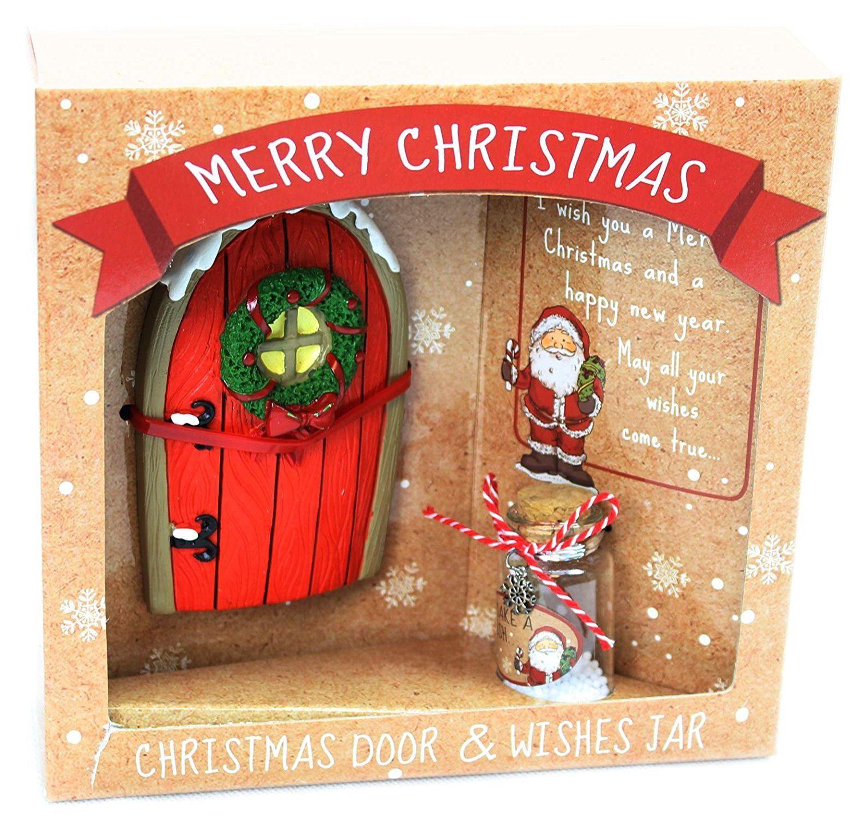 Elf Santa Christmas Doors Wish Jar On Shelf Magical Fairy Doors