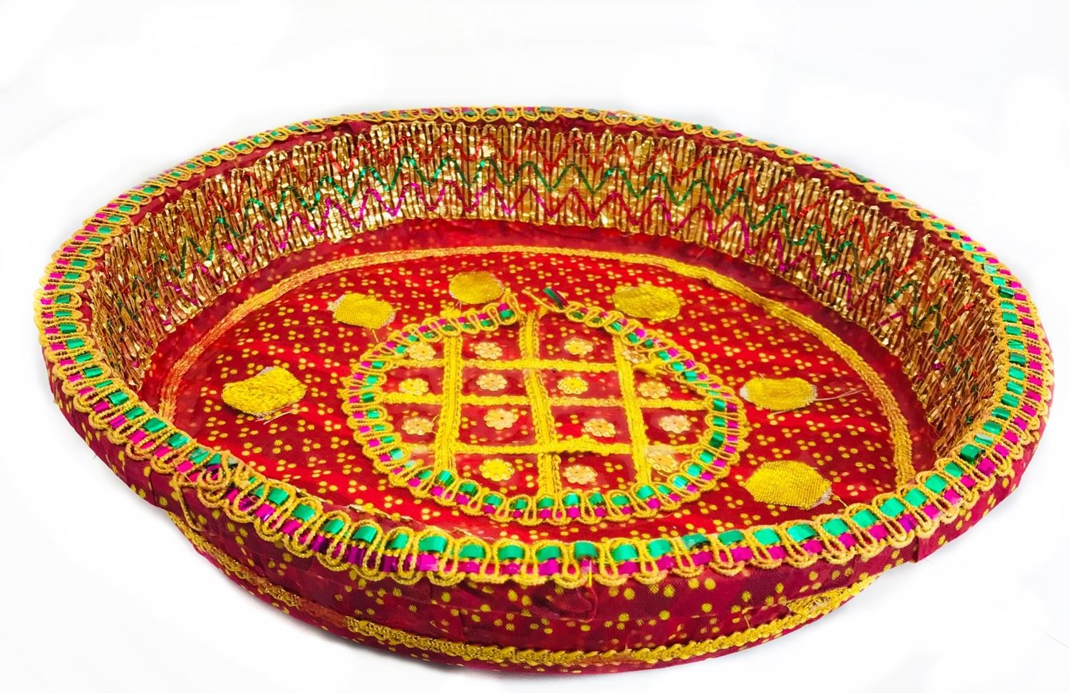 Decorative Tray Chaab Sequins Indian Wedding Xmas Gift Pooja Festive
