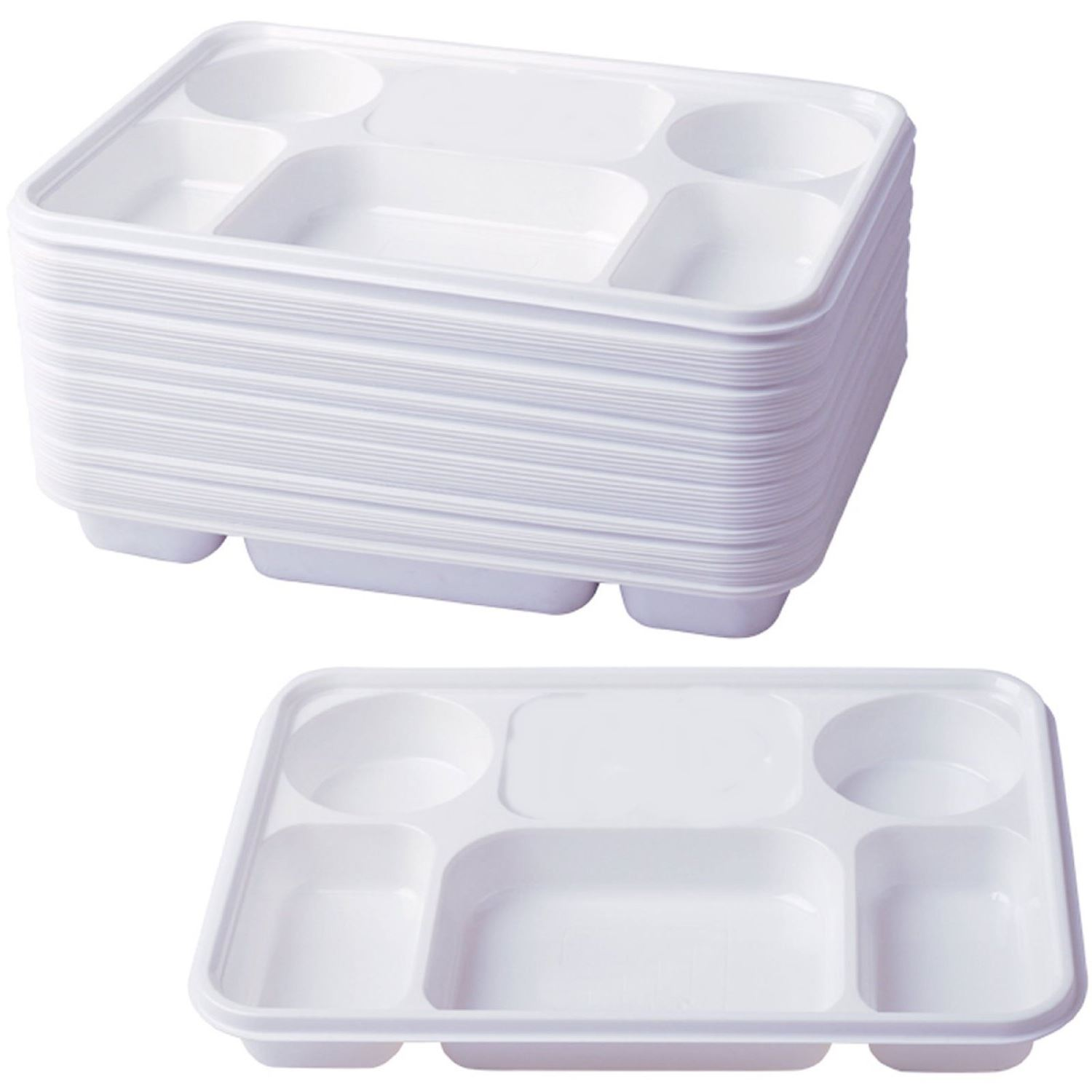 6 Compartment Plastic Dinner Plates 50pc Party Home Food Disposable ...