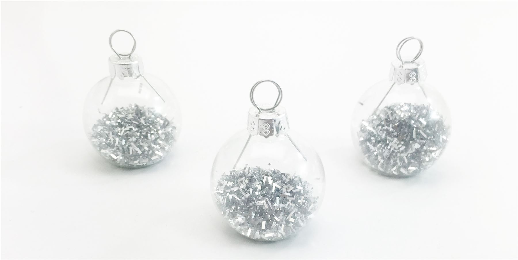 6 silver glitter tinsel xmas ball baubles place card holders wedding table decor