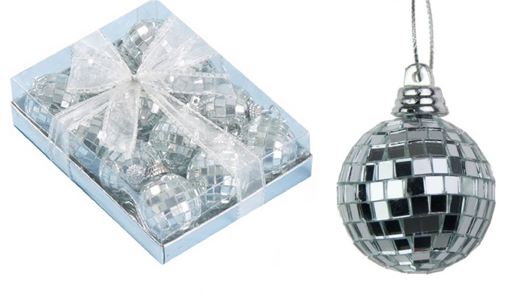 24 Silver Mini Disco Mirror Ball Christmas Tree Bauble Home Party Decoration...