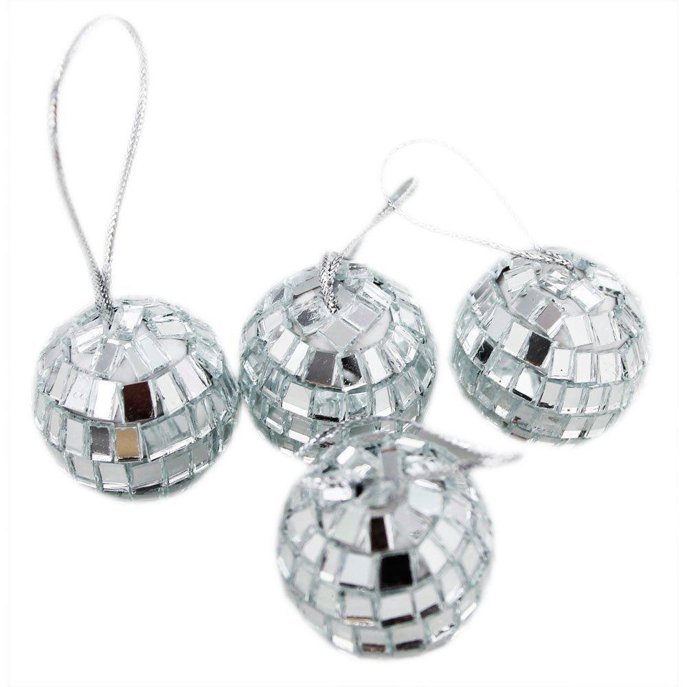 Blue Christmas Ball Ornaments Uk: Silver Mini Disco Mirror Ball Xmas Tree Bauble Home Party