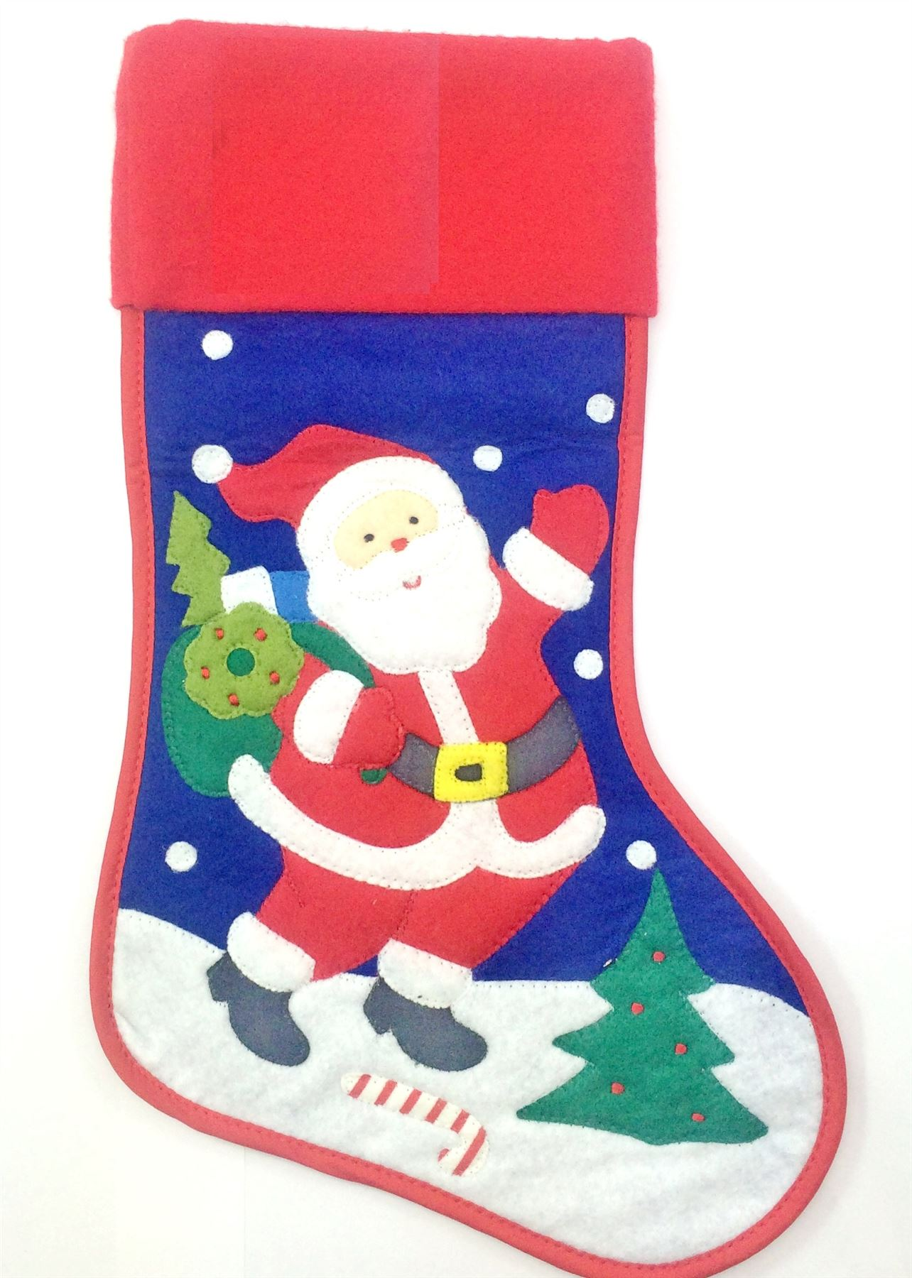 Festive Christmas Felt Stitched Stocking Cute Santa