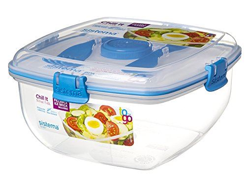 Sistema Chill It To Go Container 163L Lunch Box Travel Salad Dressing Cutlery