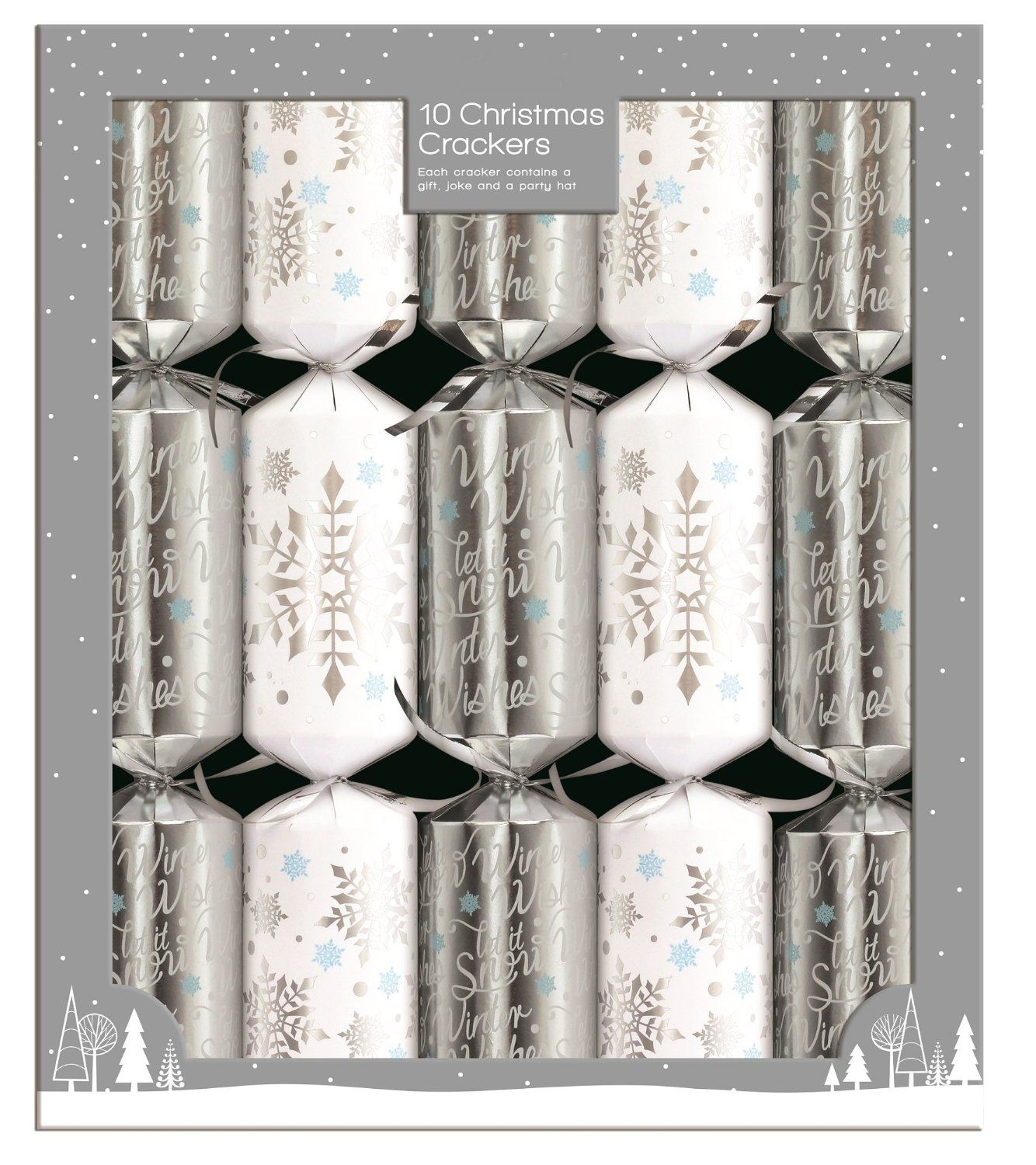 10 Silver White Snowflake Star Christmas Crackers Family Party Santa ...