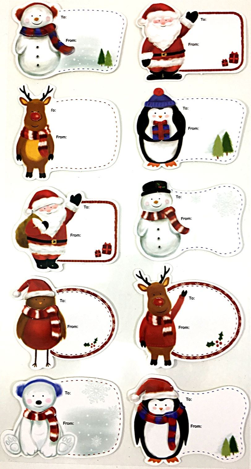 Christmas Gift Tags For Kids.Details About 10 Christmas Gift Tags 3d Present Festive Xmas Kids Self Adhesive Decor Cute Fun