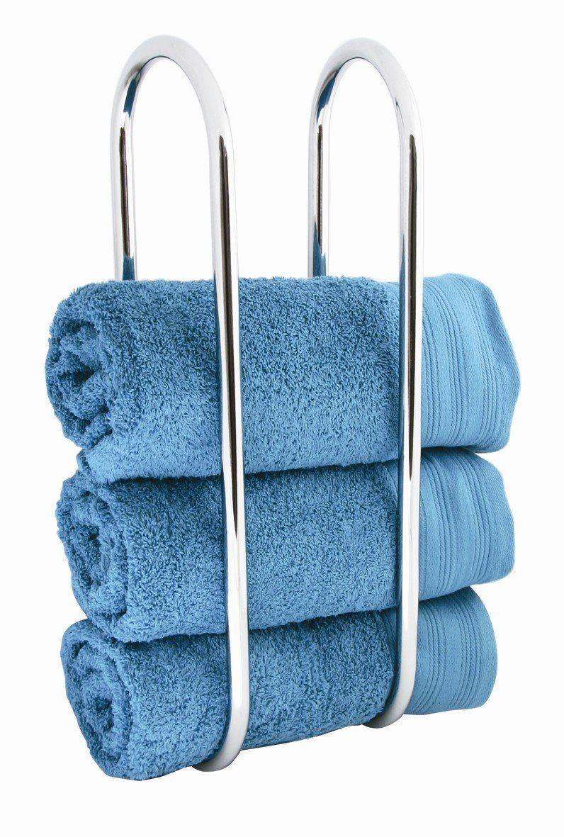 Wall Mounted Towel Rack Chrome Holder Shelf Bathroom Storage Rail ...