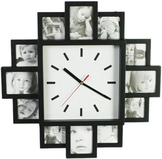 Plastic Wall Clock With 12 Photo Frames White Gift Decoration ...