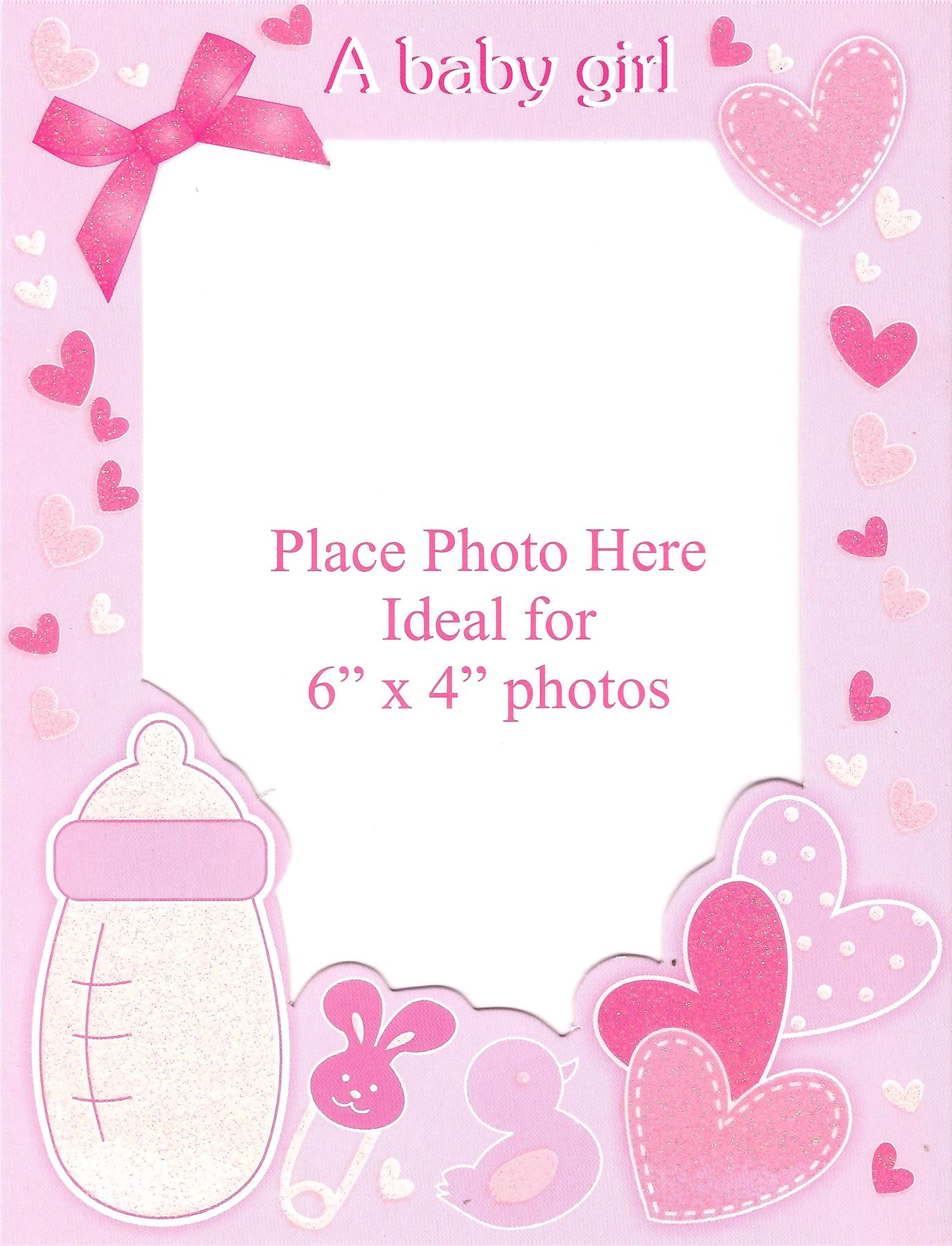 6 Baby Girl Birth Announcement Personalise Photo Frame Glitter Pink