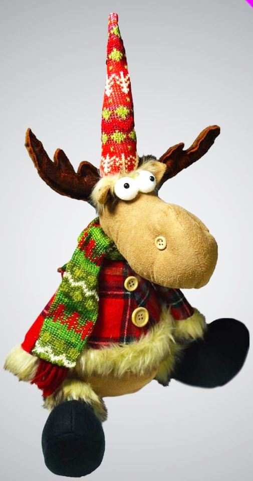 christmas deer door stop reindeer decor novelty gift festive heavy wedge fabric