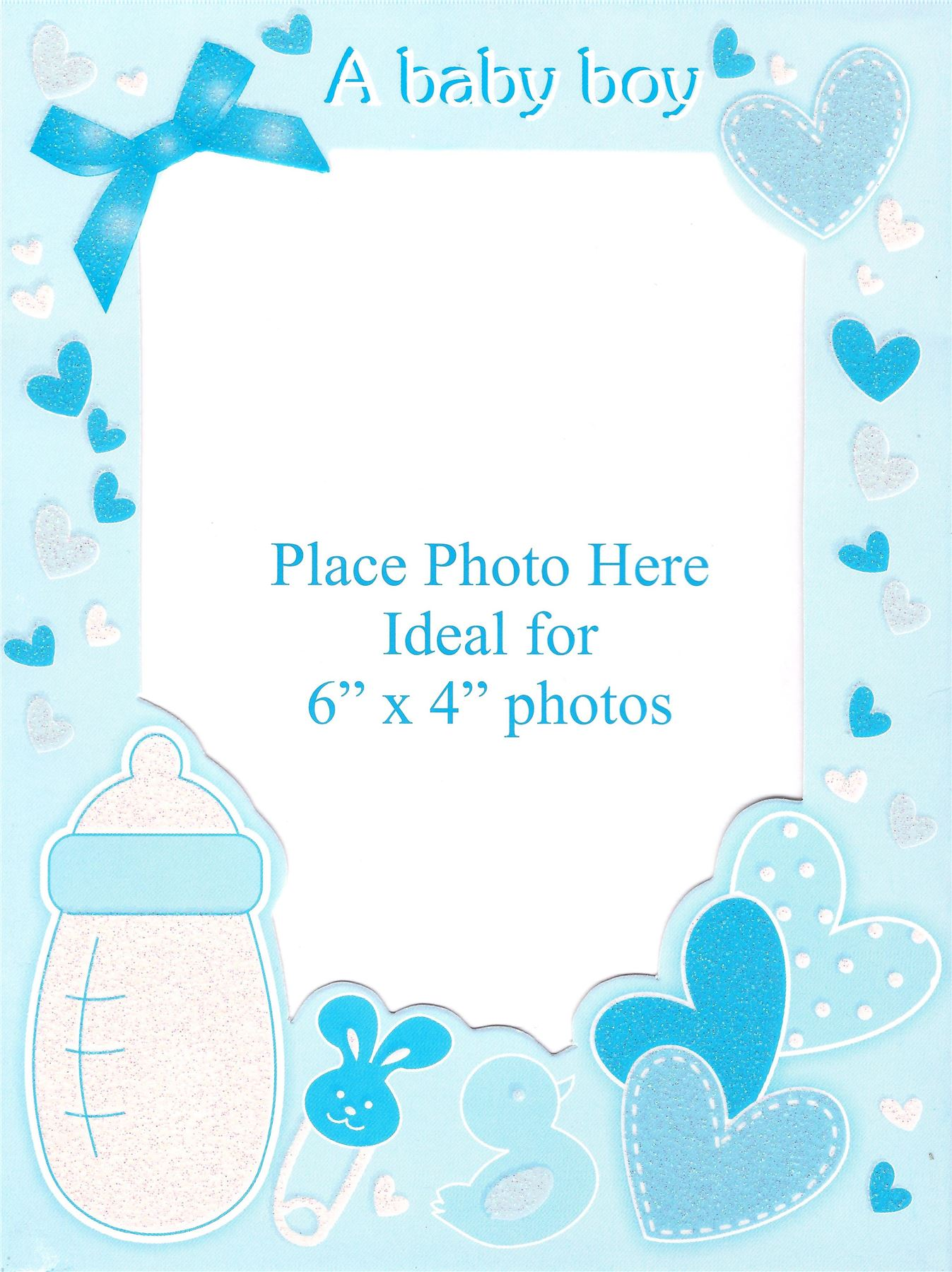 6 Baby Birth Announcement Personalise Photo Frame Glitter