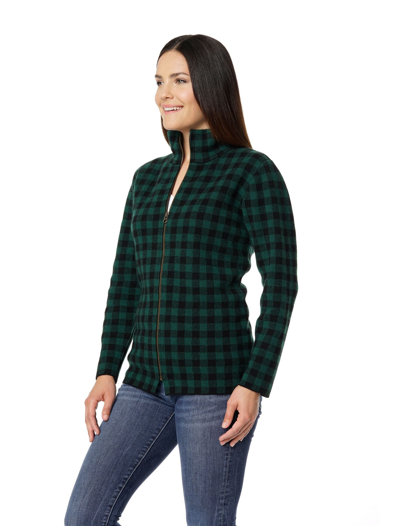 plaid buffalo cardigan sweater zip front shirt cashmere womens