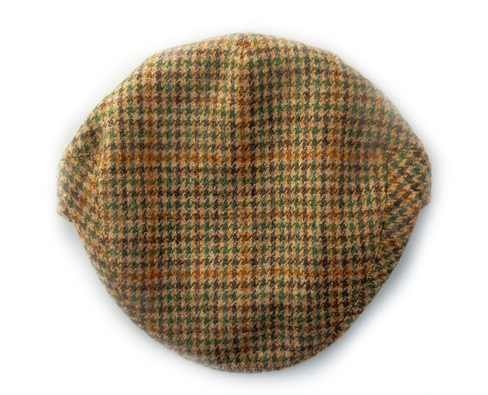 Yorkshire-hand-tailored-wool-tweed-flat-cap-Houndstooth-Beige-Green-BRITISH-MADE