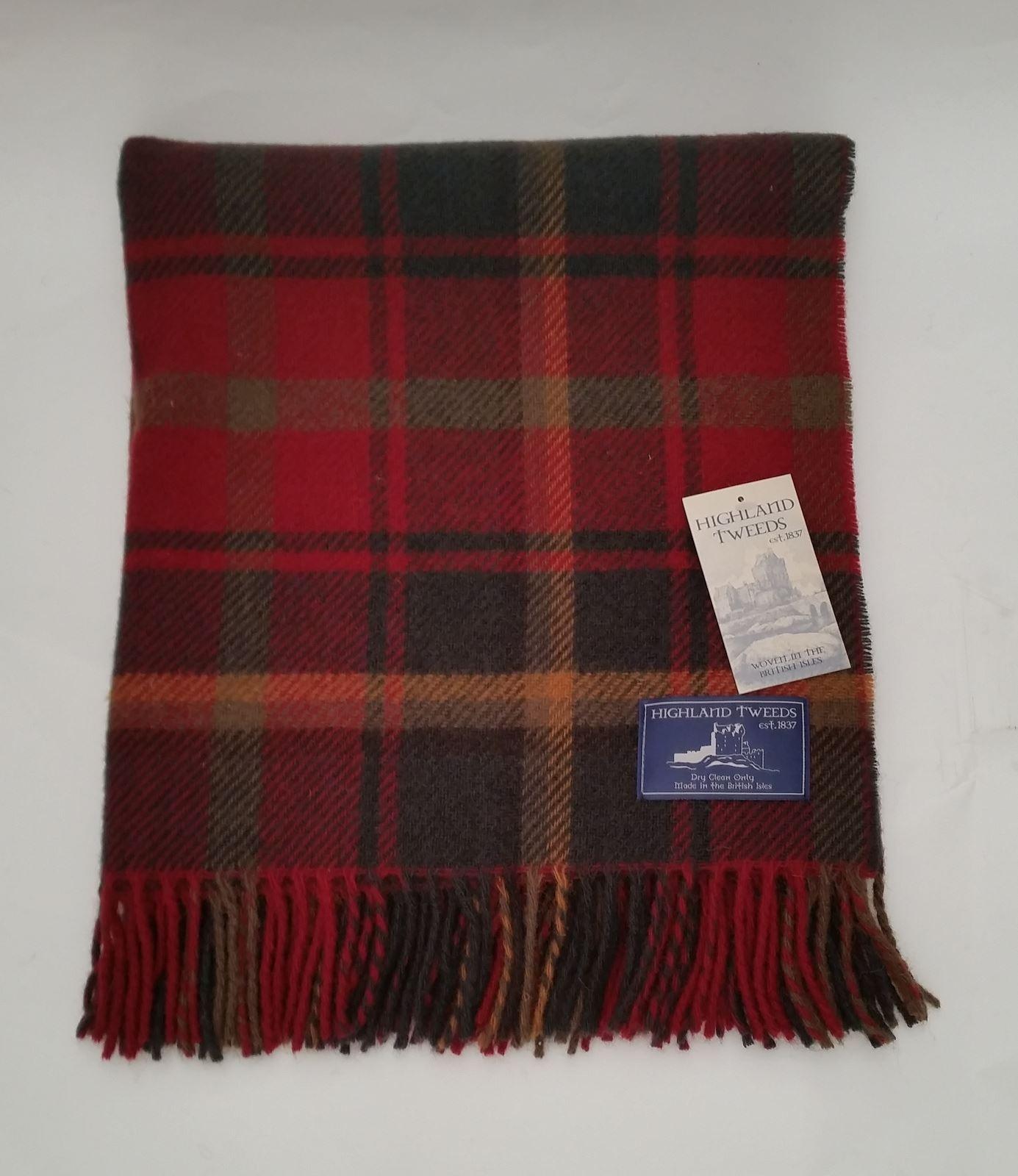 Bronte Tartan wool knee car rug British made small blanket throw Highland Tweeds