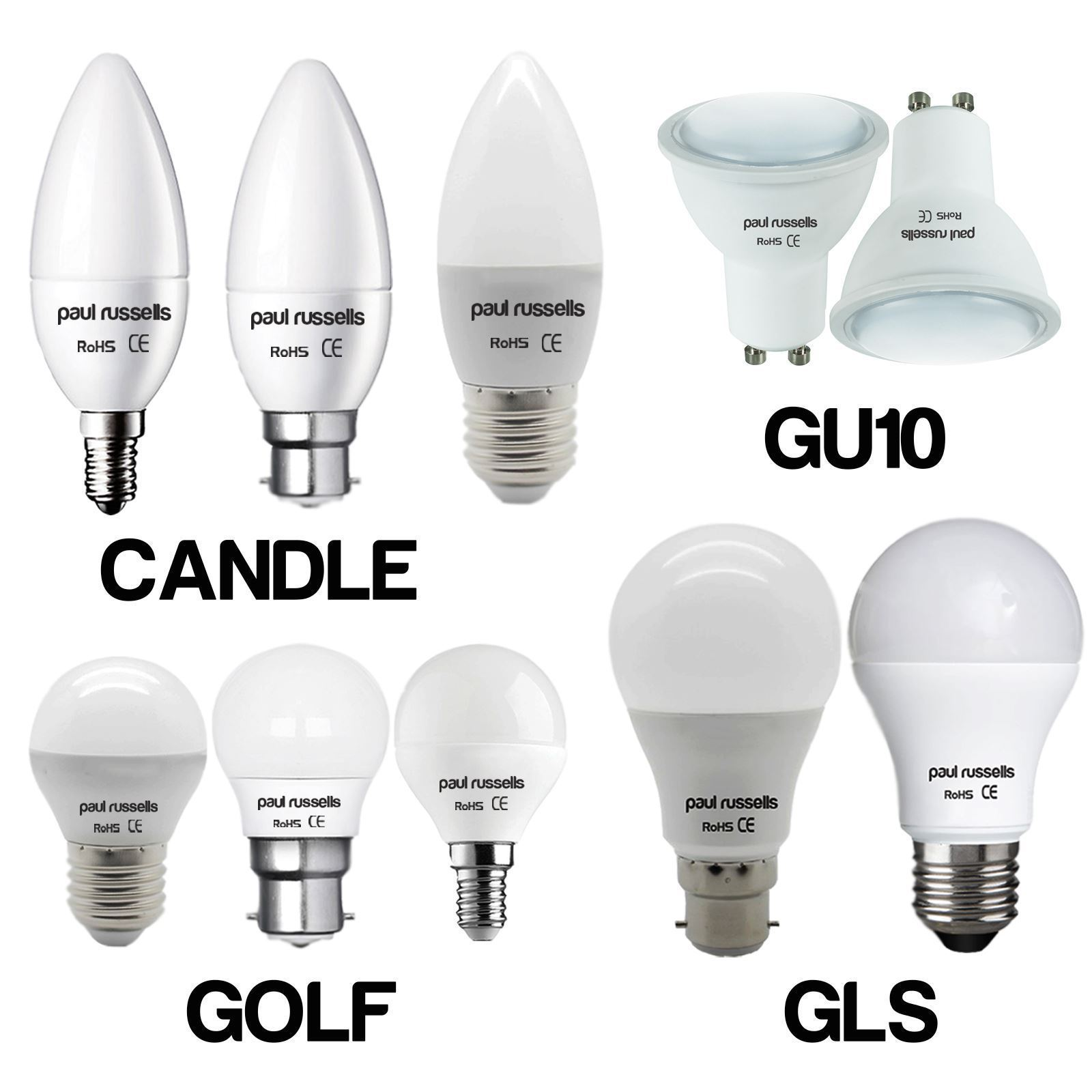 led gu10 e14 e27 b22 25w 40w 60w 100w equiv candle golf gls spot light bulbs. Black Bedroom Furniture Sets. Home Design Ideas