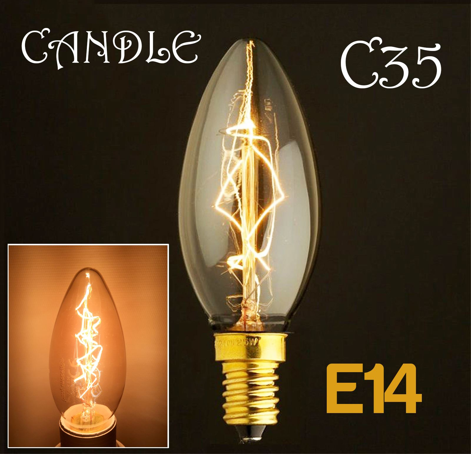 Affinity 4 2w 40w Filament Led Gls Es E27 Clear Light: Dimmable E27 E14 B22 40W Edison Vintage Filament Candle