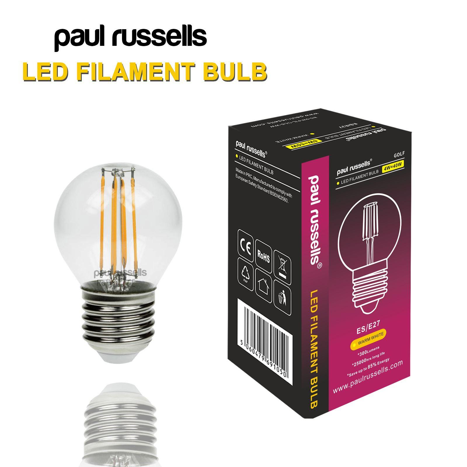 Led Filament Lamp 40w Dimbaar: 25W 40W LED Filament Light Bulb Golf Ball Amber/Day/ Warm