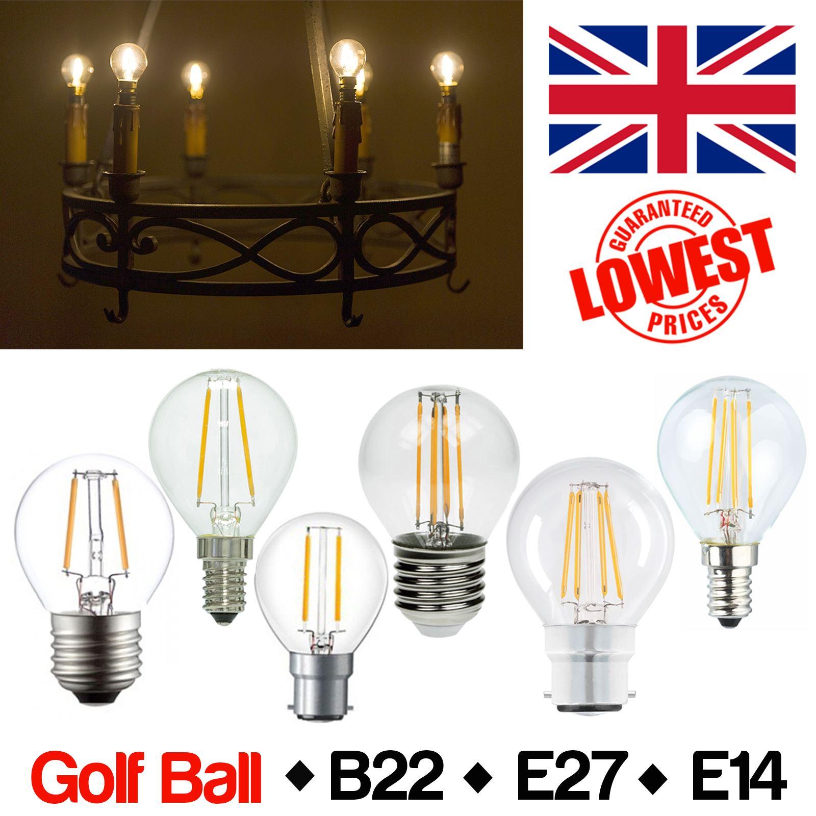 Affinity 4 2w 40w Filament Led Gls Es E27 Clear Light: LED Round Clear Filament Light Bulb 2W=25W 4W=40W BC B22