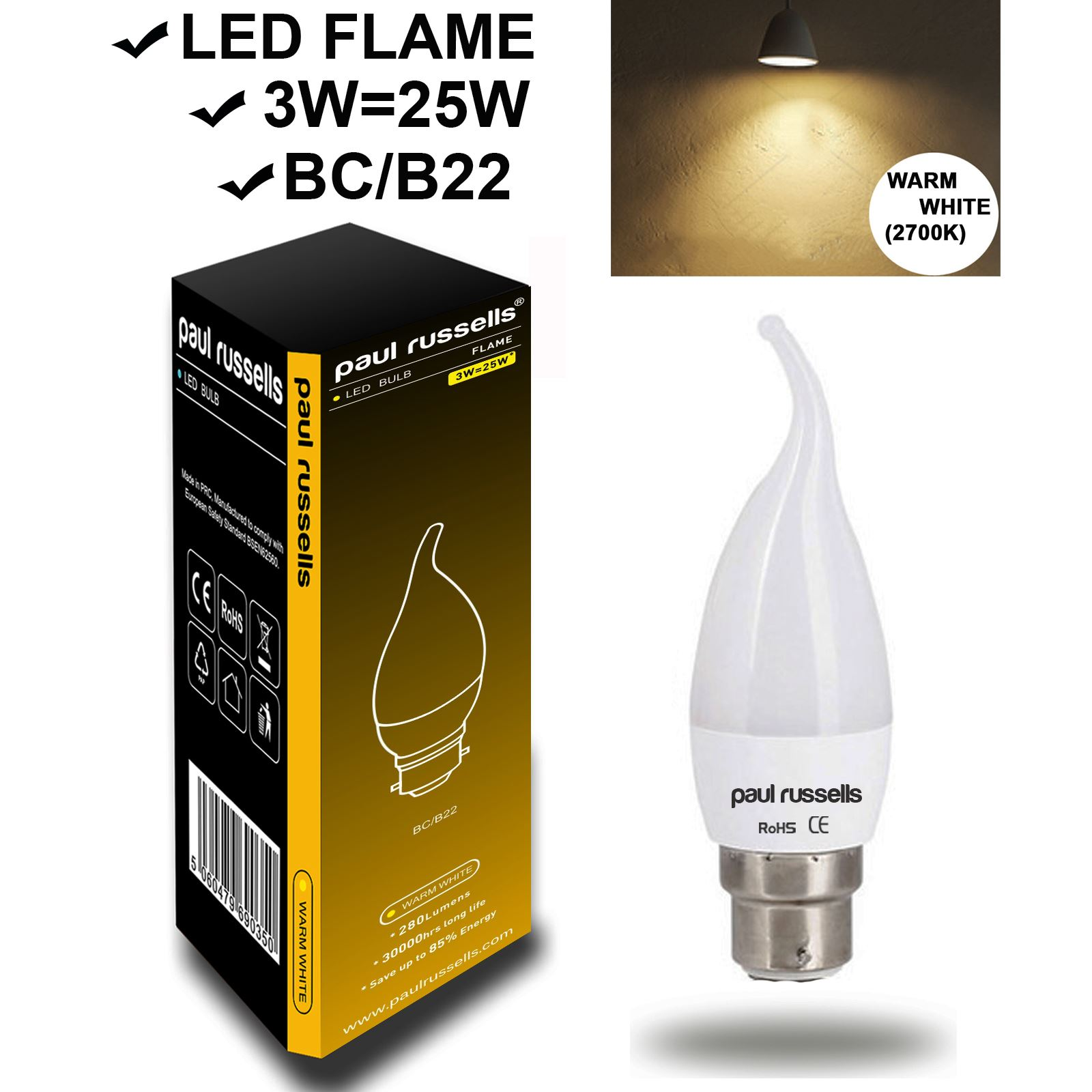 E14 B22 E27 Led Frosted Bent Tip Candle