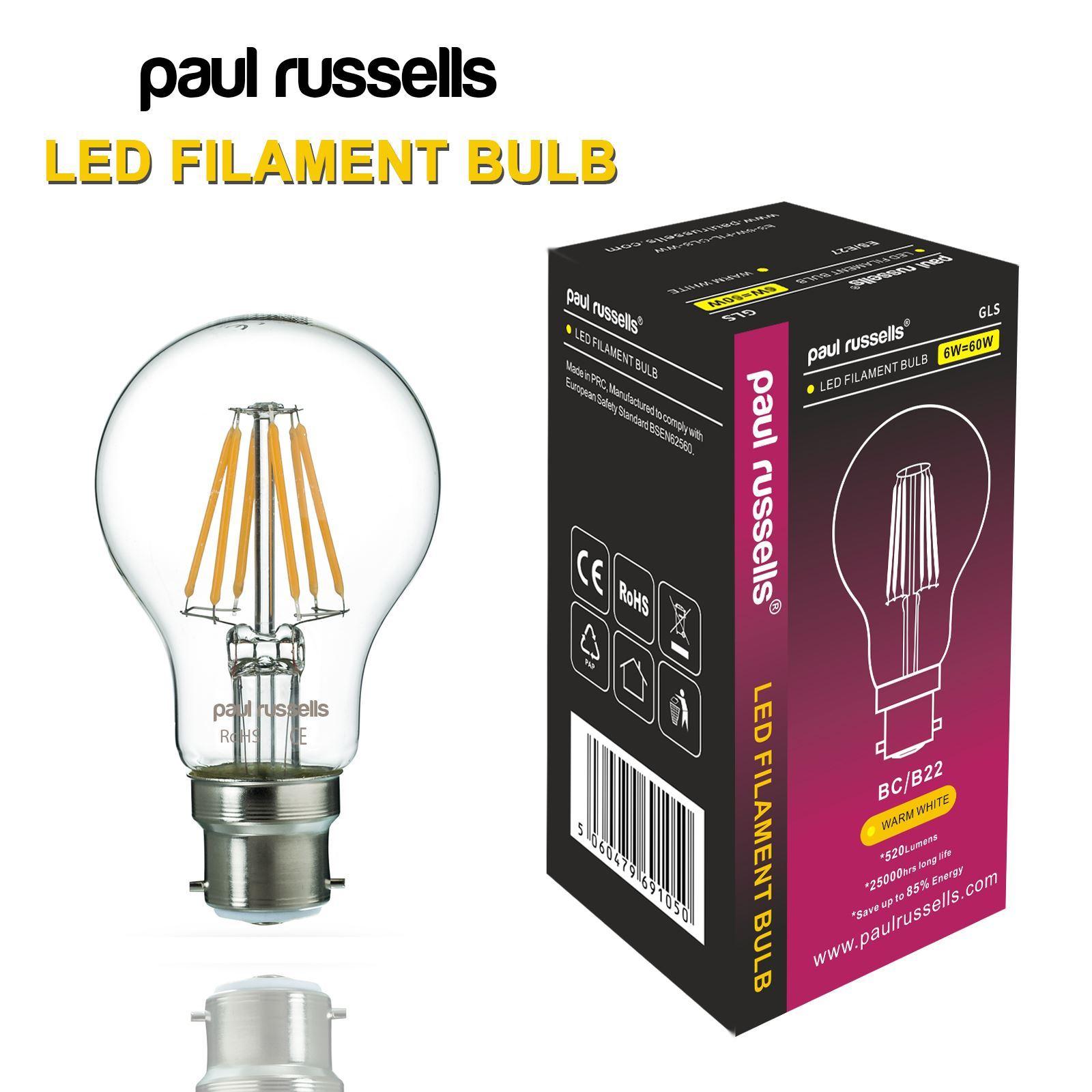 Affinity 4 2w 40w Filament Led Gls Es E27 Clear Light: E14 B22 E27 LED Filament Bulbs LED Golf GLS Lamp Candle