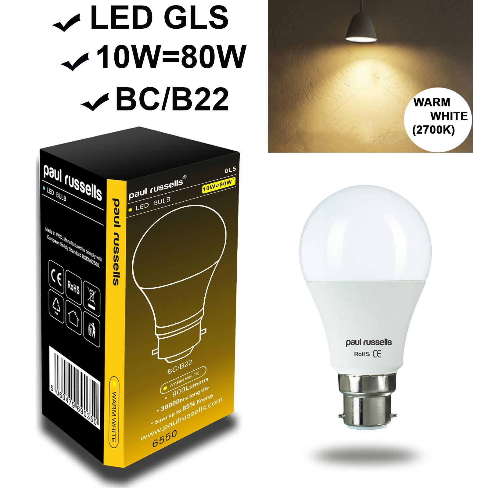 5W-6W-7W-10W-12W-15W-BC-B22-ES-E27-Warm-Day-White-LED-GLS-Light-Bulb