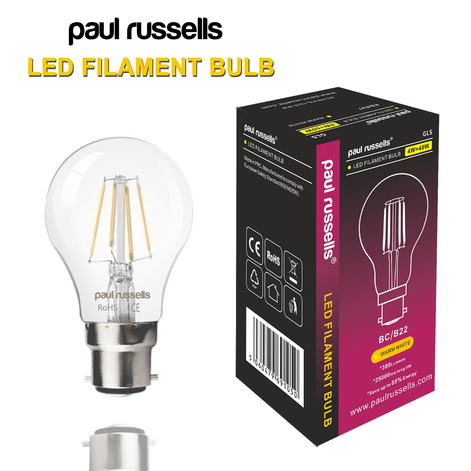 Affinity 4 2w 40w Filament Led Gls Es E27 Clear Light
