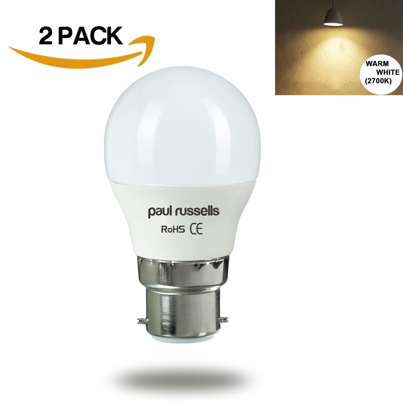 Paul-Russells-LED-3W-5W-7W-E14-B22-E27-Golf-Globe-Light-Bulbs-Warm-Day-Cool