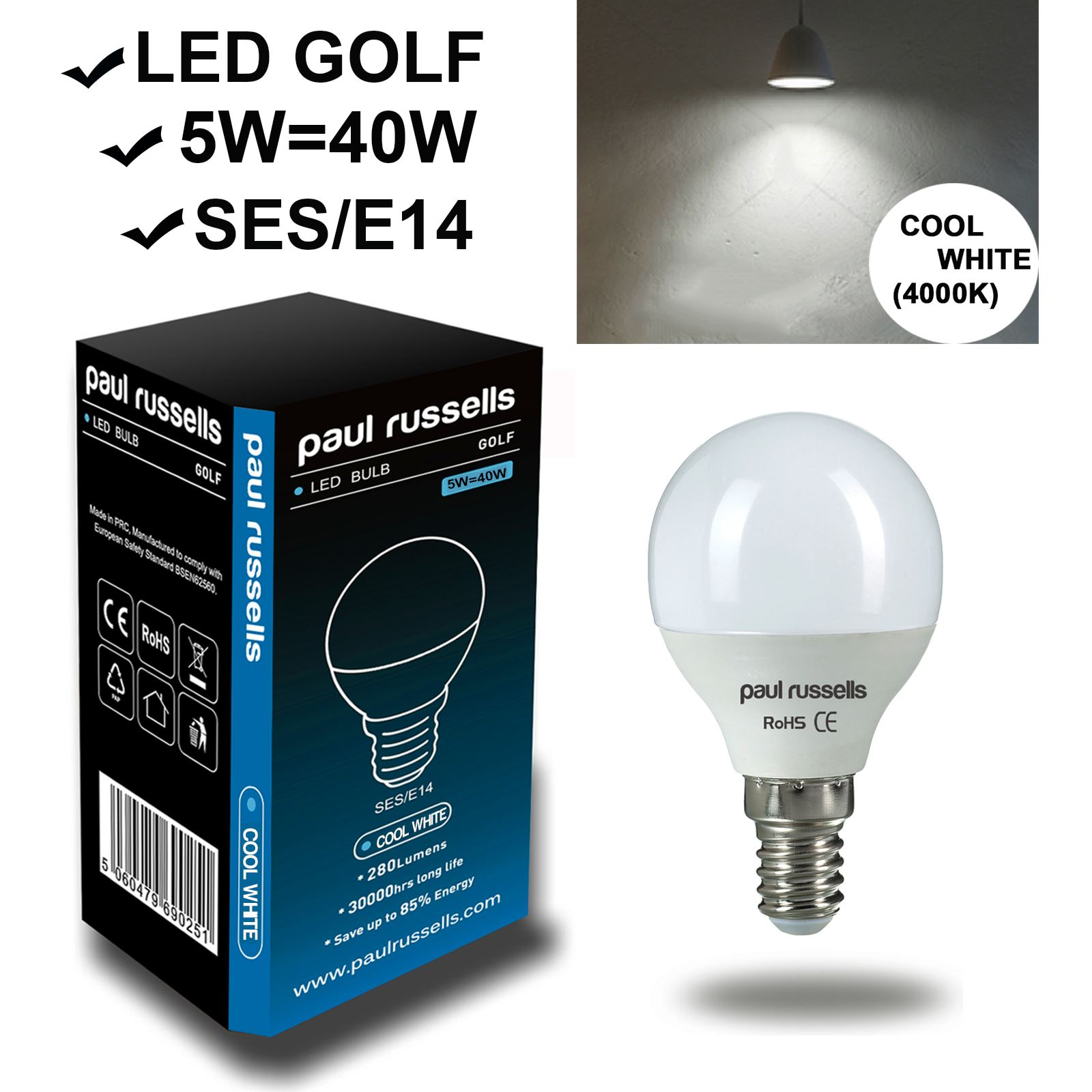 Affinity 4 2w 40w Filament Led Gls Es E27 Clear Light: LED 25W 40W 60W SES E14 BC B22 E27 ES Golf Ball White