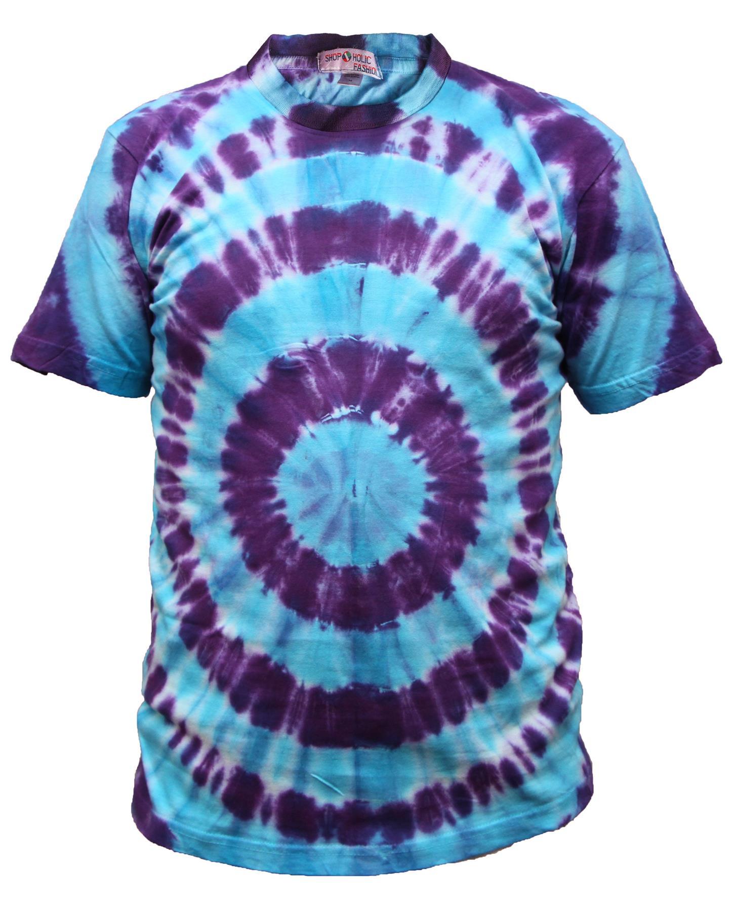 Tie-Dye-T-Shirt-Music-Festival-Tye-Dye-Tee-Hipster-Retro-Unisex-Short-Sleeve-Top thumbnail 15