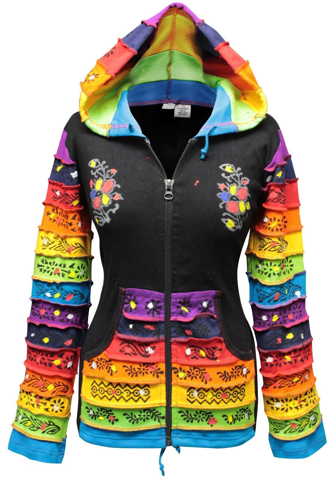 Women-Rainbow-Sleeved-Flower-Patch-Hoodie-Hippy-Light-Weight-Jacket thumbnail 2