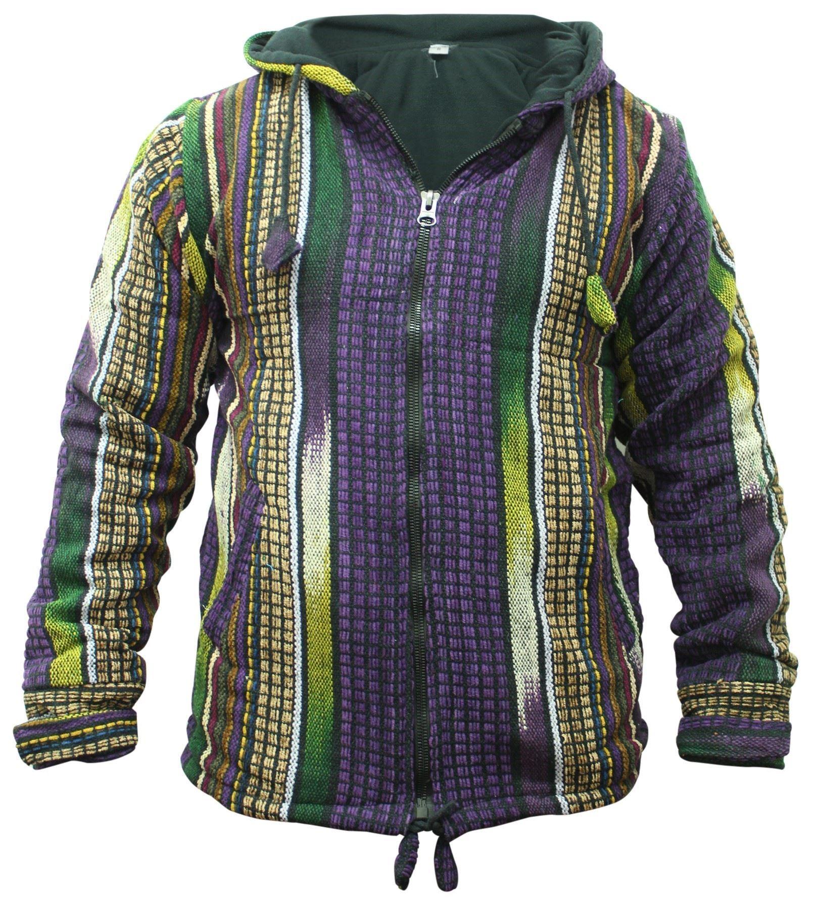 Mens-Heavy-Cotton-Fleece-Lined-Jacket-Hippy-WInter-Festival-Hoodie thumbnail 4