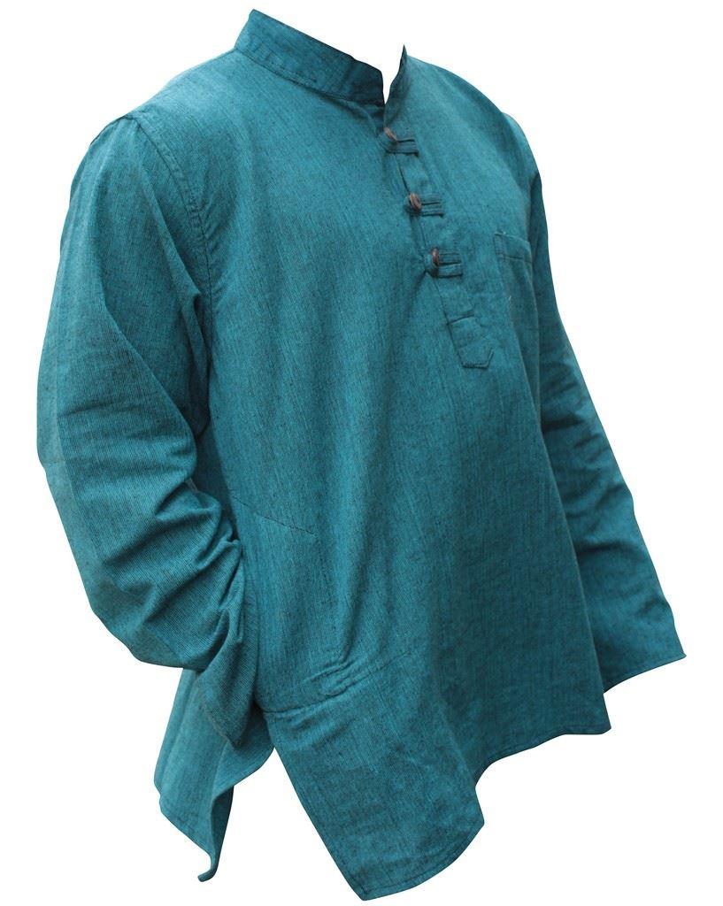 Mens-Plain-Hemp-Collarless-Grandad-Shirt-Full-Sleeved-Hippie-Summer-Light-Tops thumbnail 26