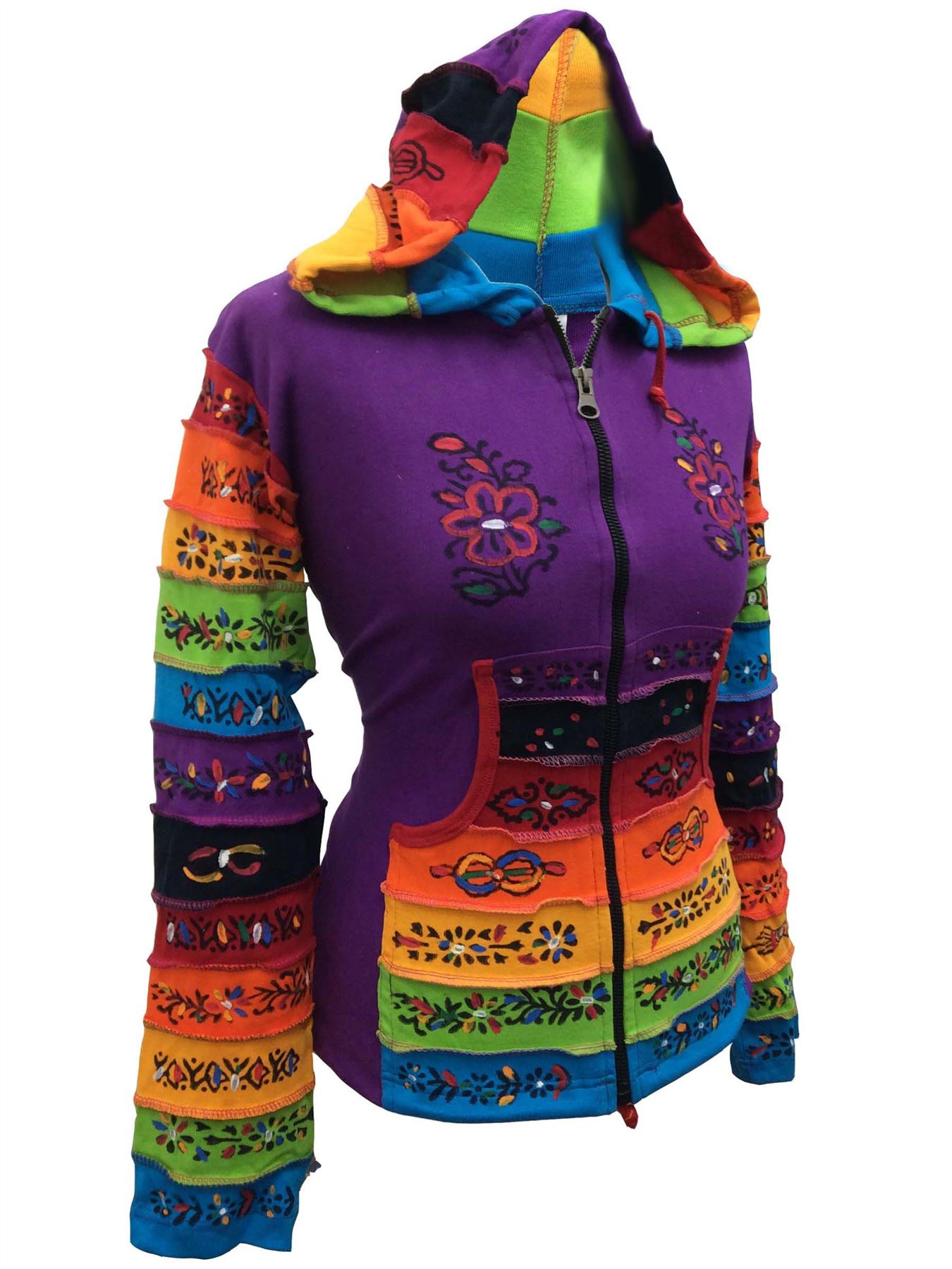 Women-Rainbow-Sleeved-Flower-Patch-Hoodie-Hippy-Light-Weight-Jacket thumbnail 10