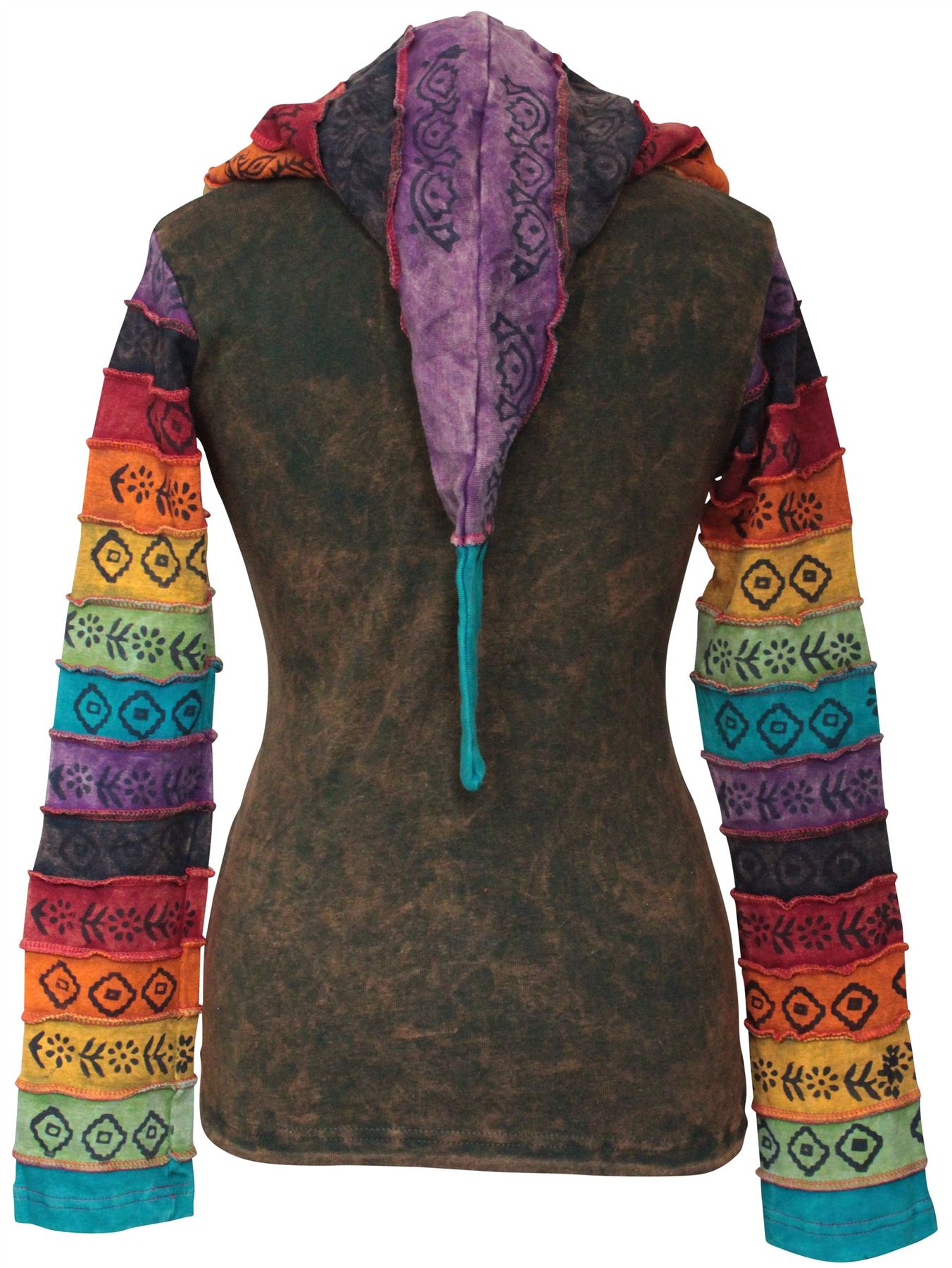 Women-039-s-Sun-Patchwork-Pixie-Hippy-Ribs-Hoodie-Light-Cotton-Hippie-Faded-Jacket thumbnail 10