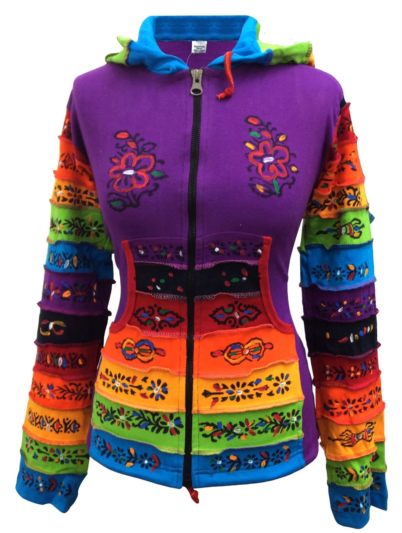 Women-Rainbow-Sleeved-Flower-Patch-Hoodie-Hippy-Light-Weight-Jacket thumbnail 8