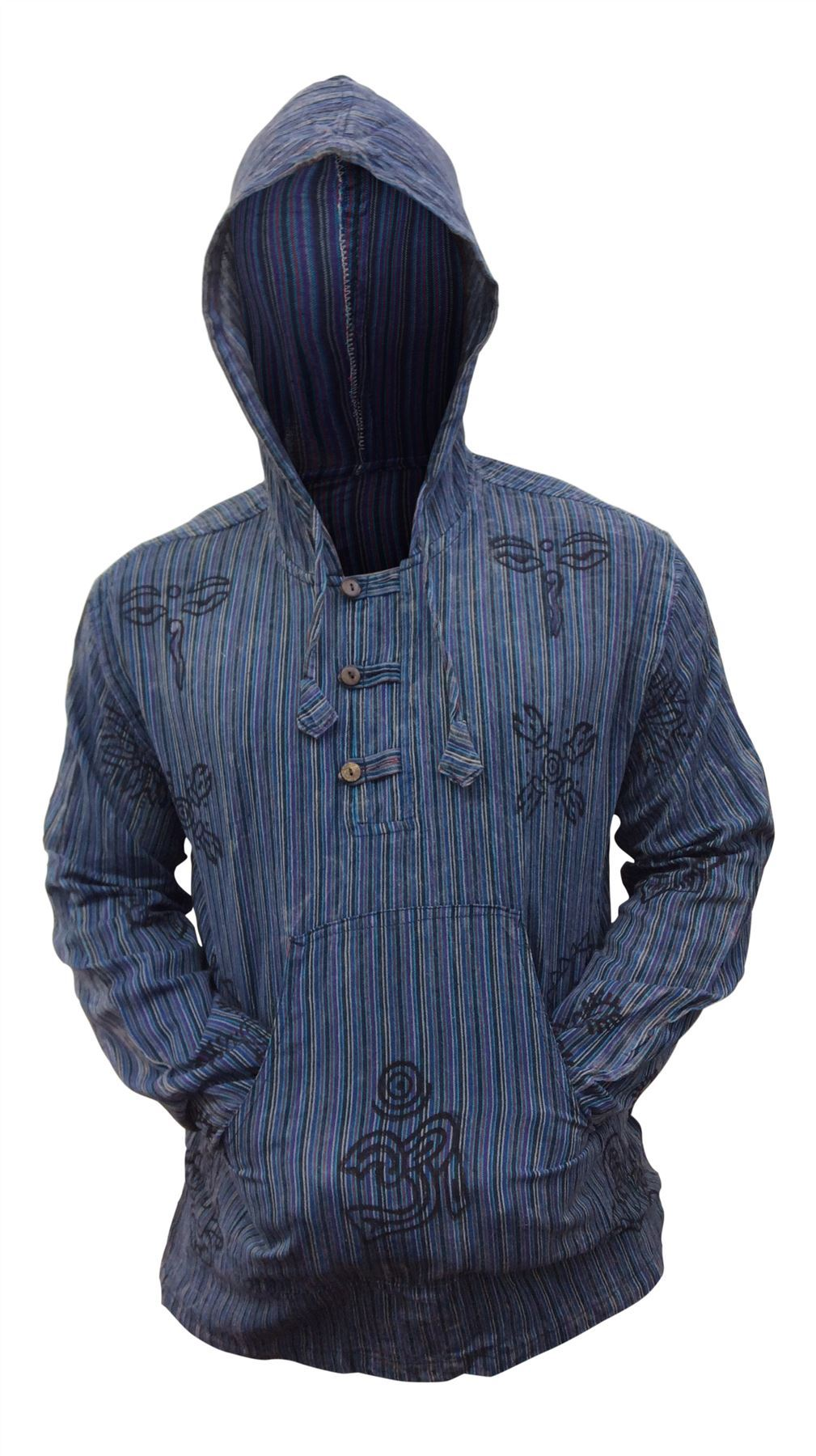 Mens-Stonewashed-Striped-Hooded-Grandad-Shirt-Long-Sleeve-Casual-Hooded-Top thumbnail 6