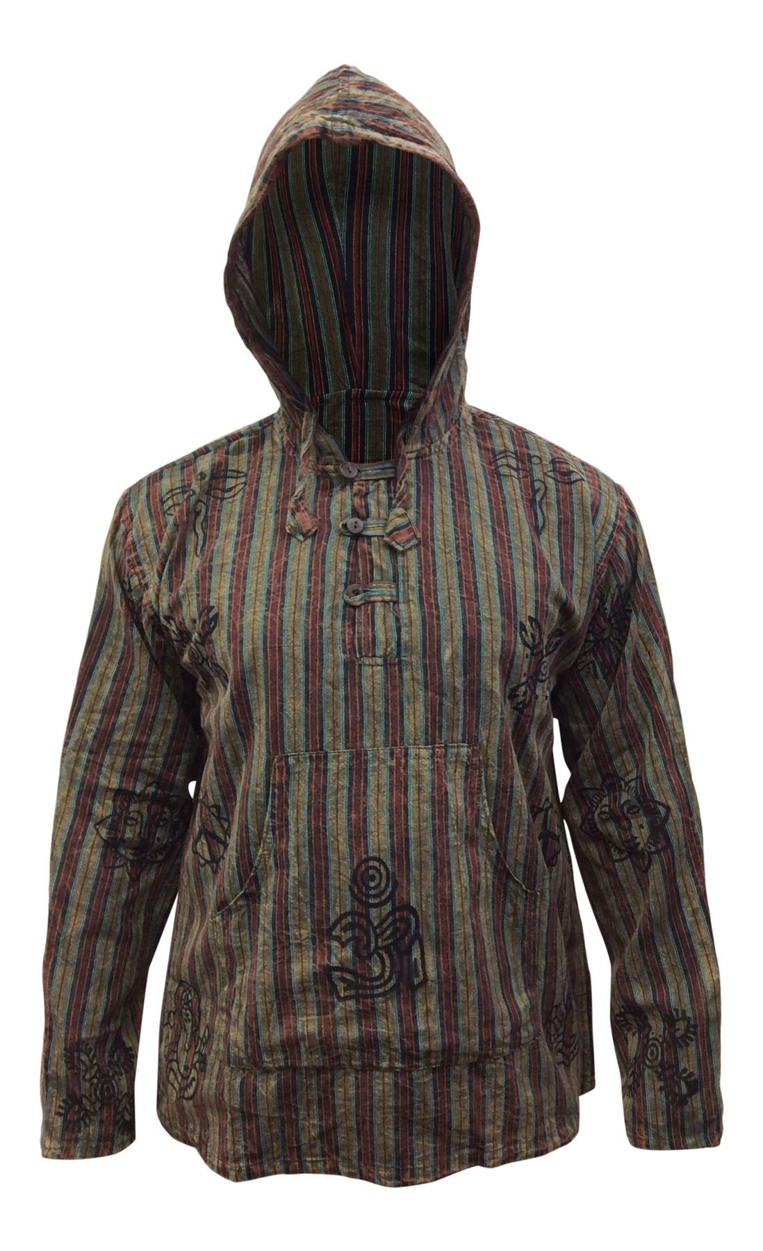 Mens-Stonewashed-Striped-Hooded-Grandad-Shirt-Long-Sleeve-Casual-Hooded-Top thumbnail 12