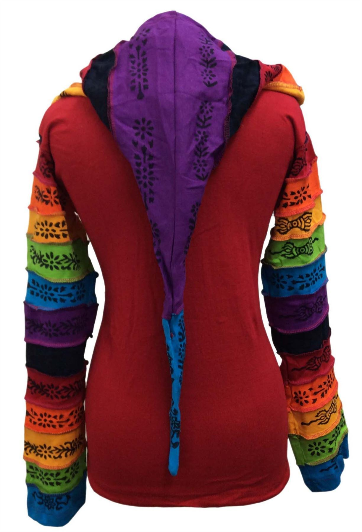 Women-Rainbow-Sleeved-Flower-Patch-Hoodie-Hippy-Light-Weight-Jacket thumbnail 16