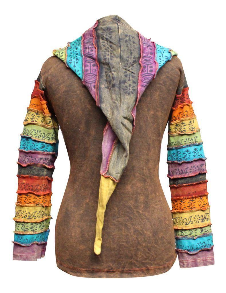 Women-039-s-Sun-Patchwork-Pixie-Hippy-Ribs-Hoodie-Light-Cotton-Hippie-Faded-Jacket thumbnail 7