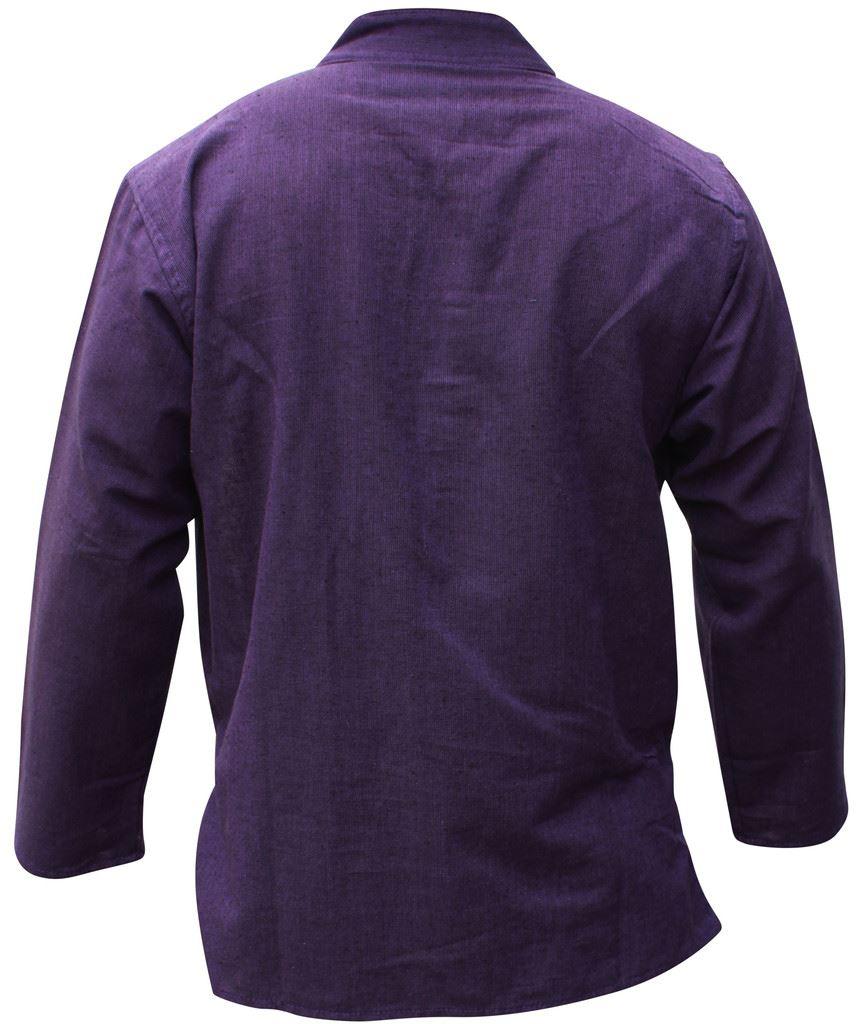 Mens-Plain-Hemp-Collarless-Grandad-Shirt-Full-Sleeved-Hippie-Summer-Light-Tops thumbnail 24