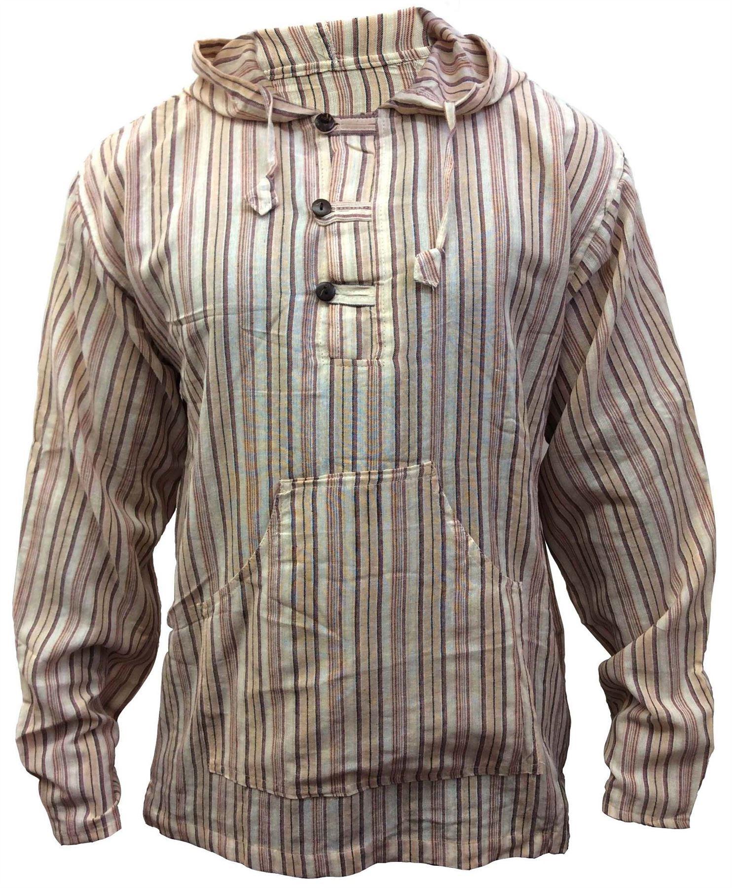 Men-039-s-Cotton-Grandad-Shirt-Full-Sleeved-Hippie-Top-Festival-Stripe-Hippy-Hoodie thumbnail 15
