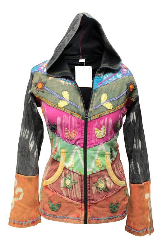 Women-Grunge-Emo-Goth-Hippie-Boho-Punk-Gypsy-Women-Festival-Hoodie-Retro-jacket thumbnail 2