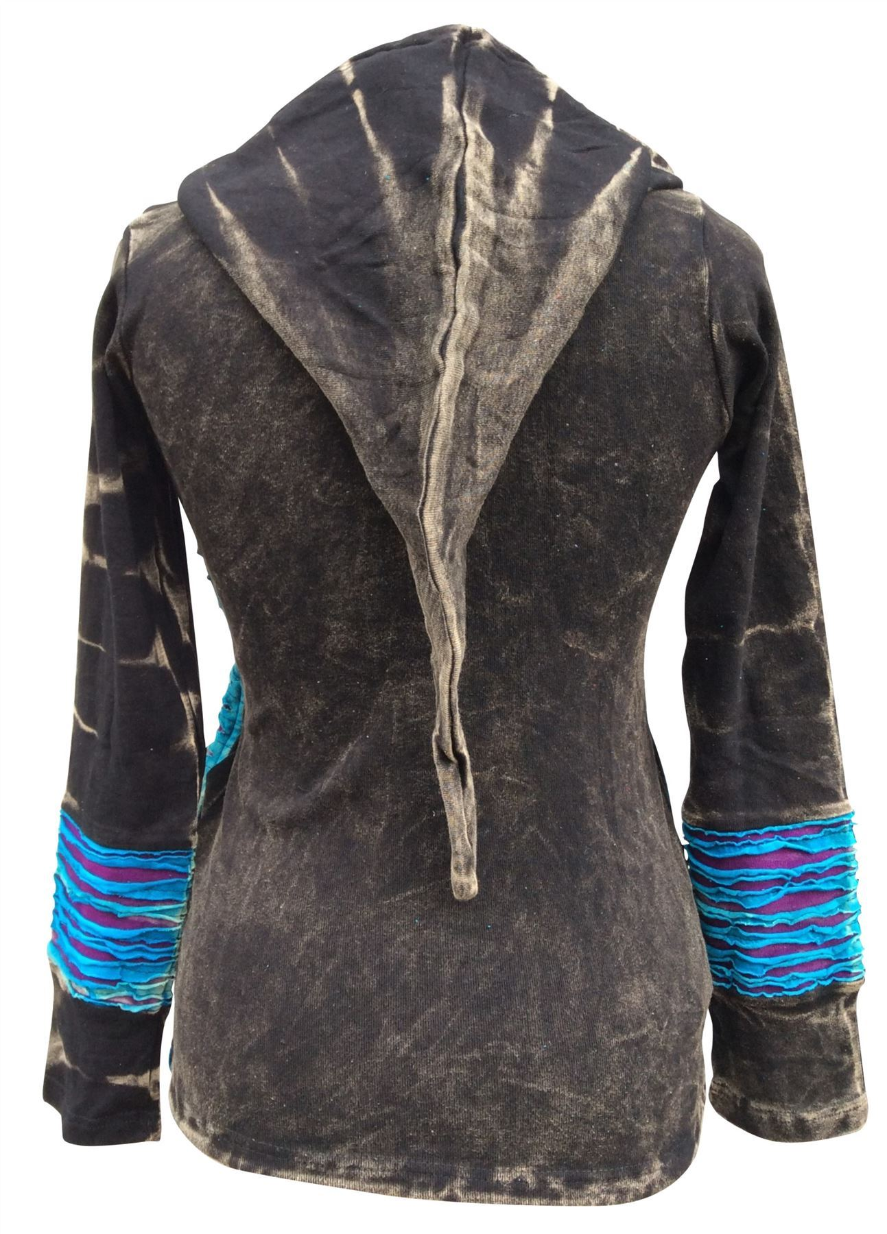 Slashed Emntage Pattern Faded Hippy Festival Hoodie Long Jacket