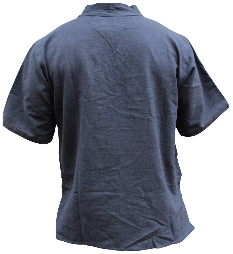 Mens-Hemp-Half-Sleeved-Hippy-Grandad-Shirts-Collarless-Ethnic-Festival-Boho-Tops thumbnail 13