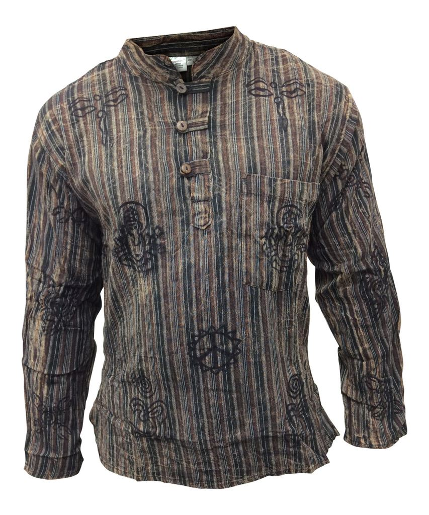Mens-Stonewashed-Striped-Faded-Grandad-Shirt-Collarless-Washed-Out-Tops thumbnail 8