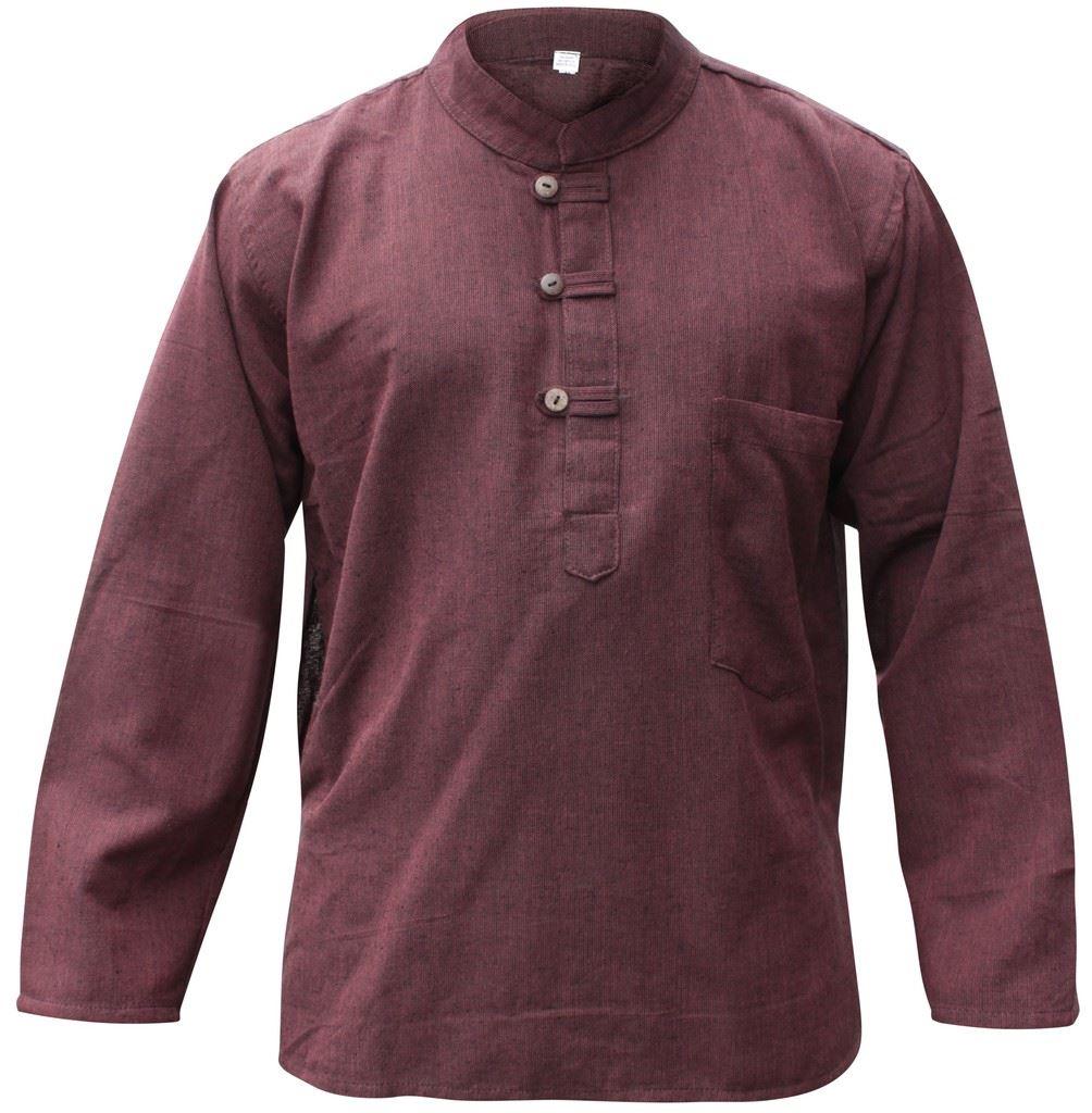 Mens-Plain-Hemp-Collarless-Grandad-Shirt-Full-Sleeved-Hippie-Summer-Light-Tops thumbnail 5