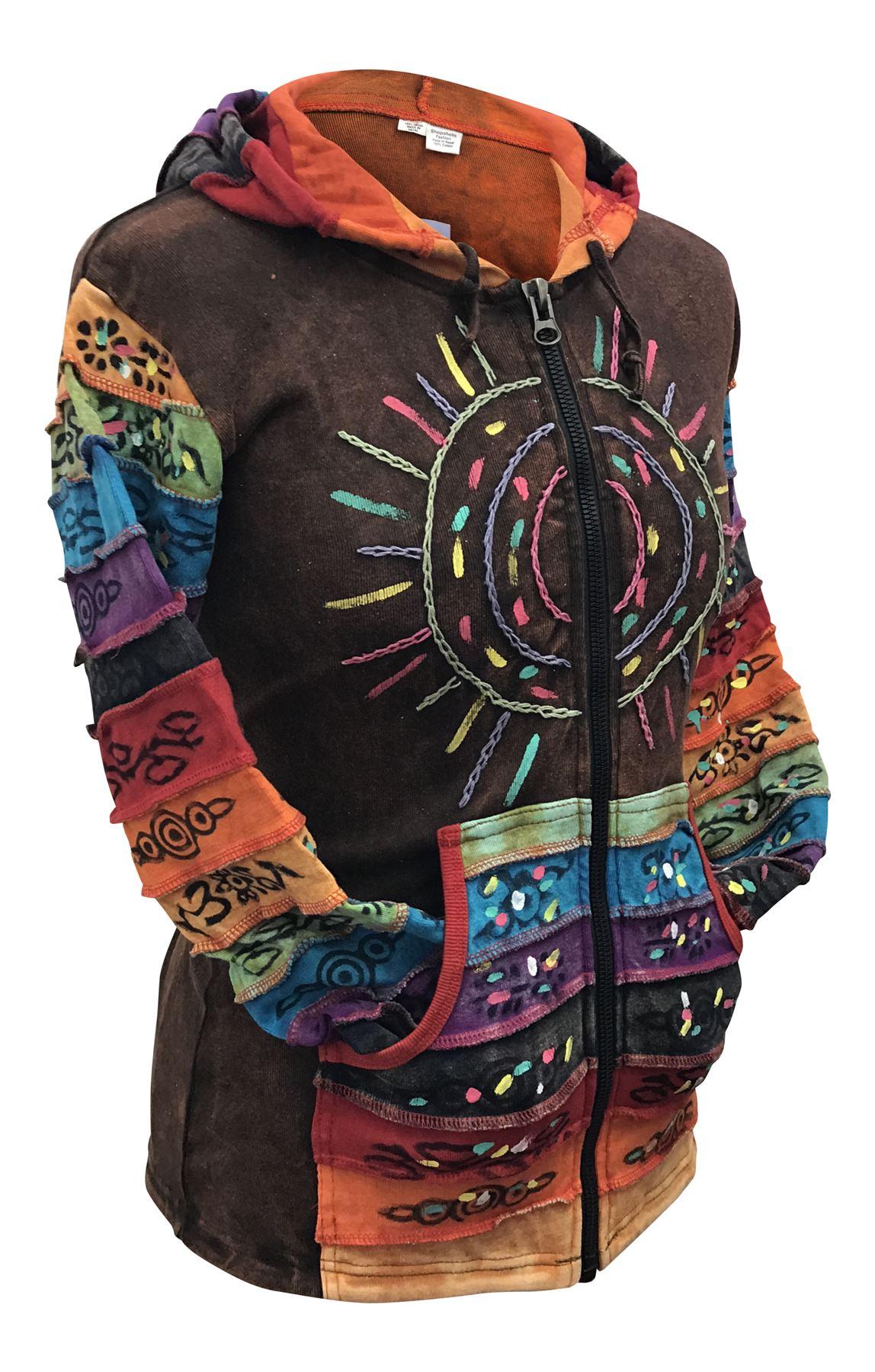 Women-039-s-Sun-Patchwork-Pixie-Hippy-Ribs-Hoodie-Light-Cotton-Hippie-Faded-Jacket thumbnail 6