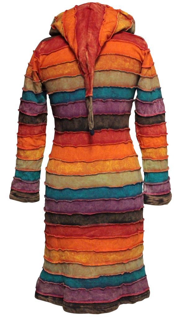 Rainbow-Striped-Pixie-Emo-Hoodie-Women-Sweater-Over-Coat-Long-Hippie-Jacket-Tops thumbnail 3